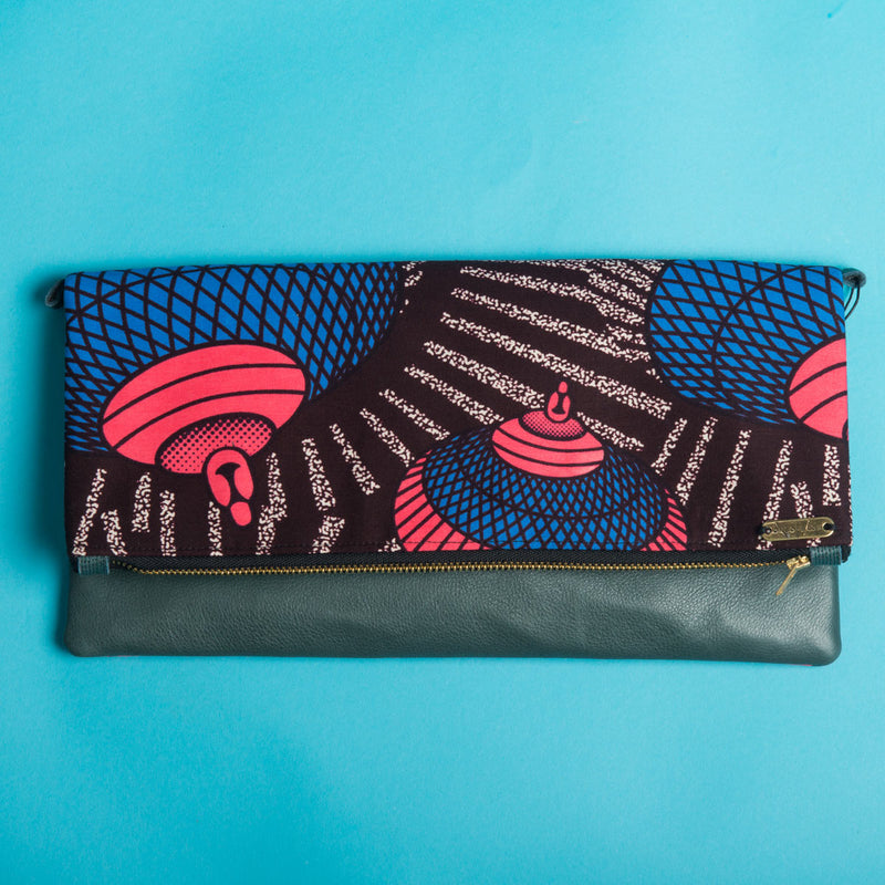 Fold-over Clutch Bag | Brown Pink Blue