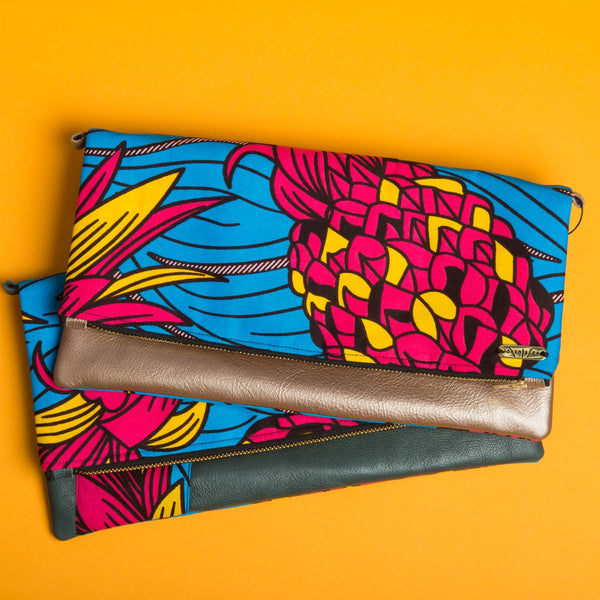 Fold-over Clutch Bag | Pink and Yellow Flowers