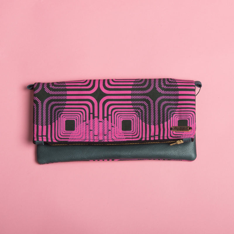 Fold-over Clutch Bag | Pink Maze