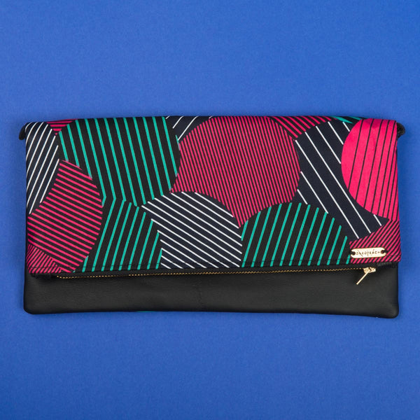 Fold-over Clutch Bag | Pink Turq Lines-Circles