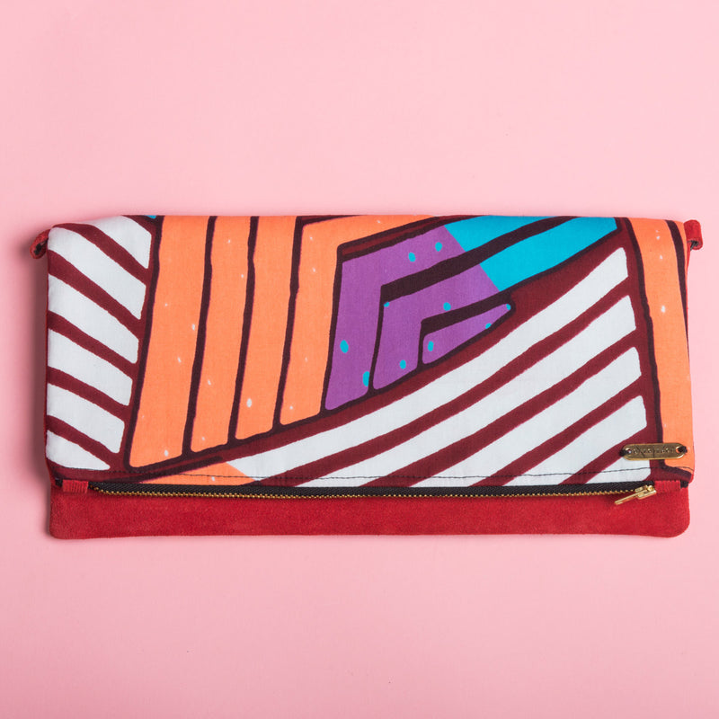 Fold-over Clutch Bag | Orange and Purple Lines