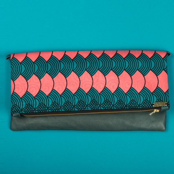Fold-over Clutch Bag | Turq Waves
