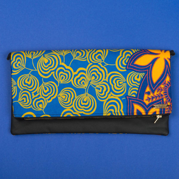 Fold-over Clutch Bag | Yellow Blue Flower