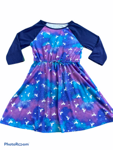 "SO 3/4 Sleeve Blue ""Unicorn"" Dress (10/12 Girls)"