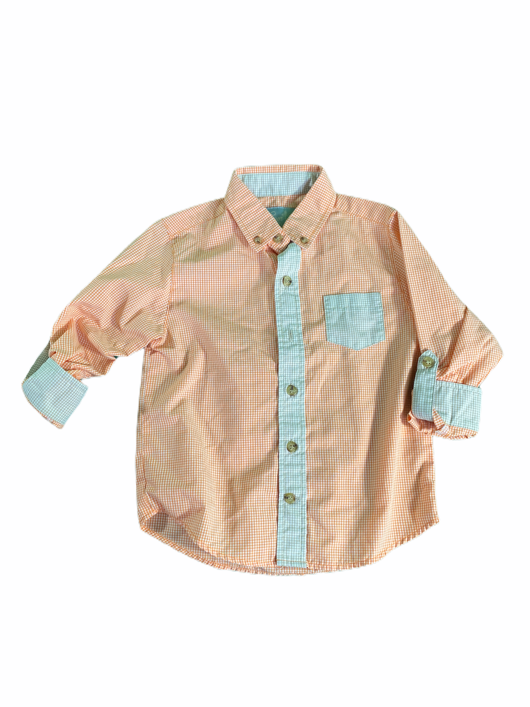 Elenor Rose Orange Gingham Button-Down (3/4 Boys)