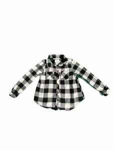 Old Navy Long Sleeve Black & White Plaid Flannel Shirt (3T Boys)