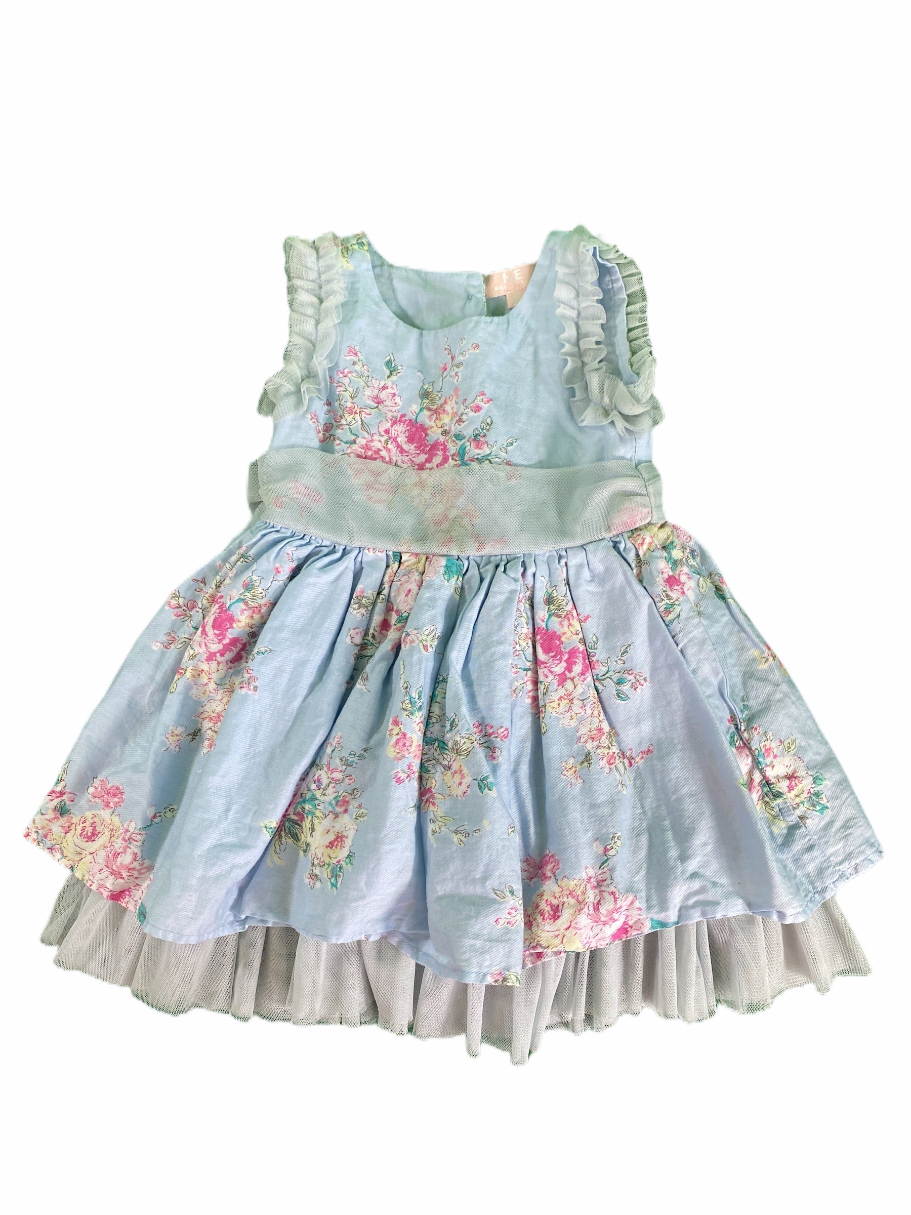 Mila & Emma Blue Floral Tulle Dress (18M Girls)