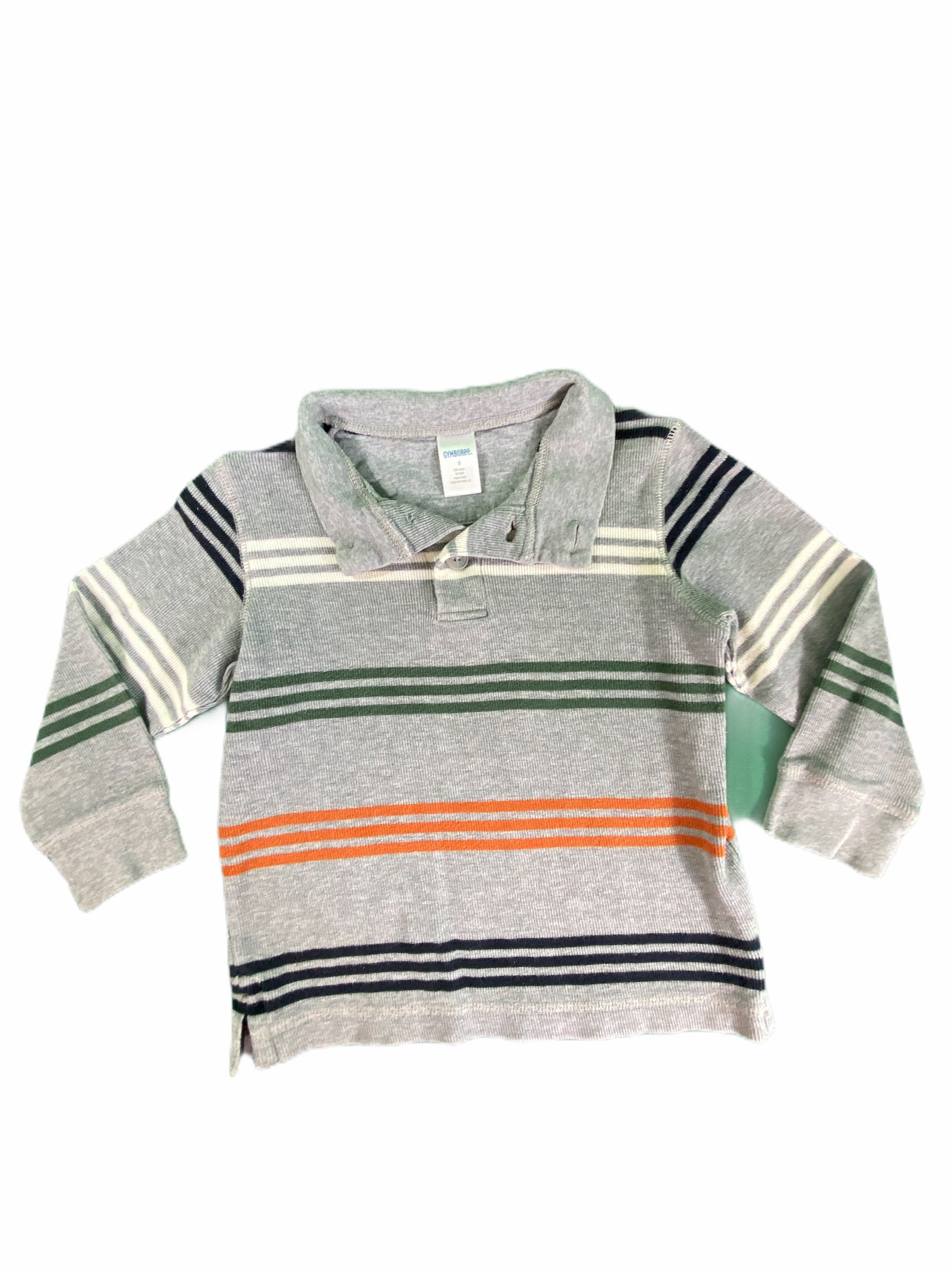 Gymboree Long Sleeve Gray Stripe Polo (5 Boys)