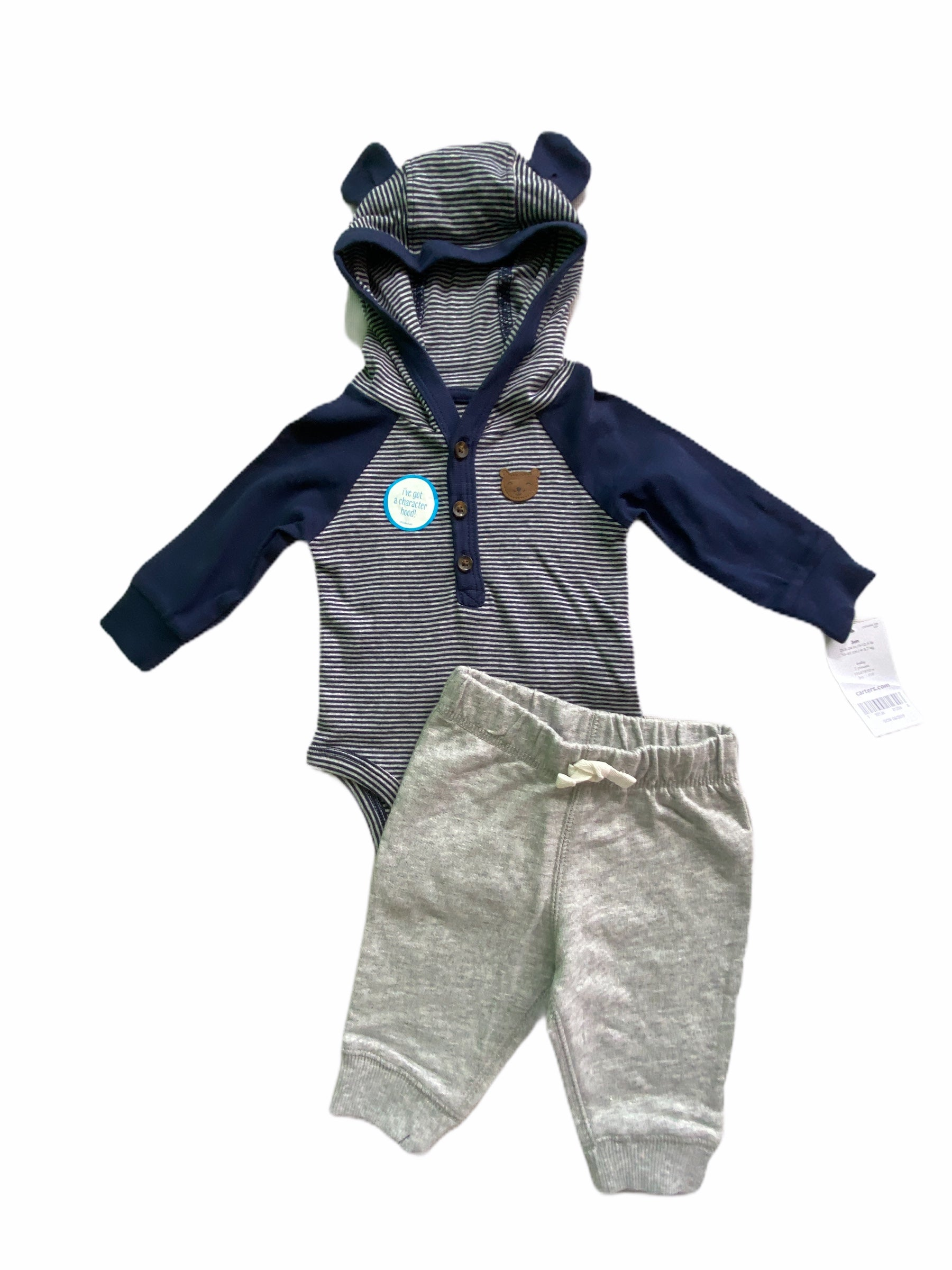 Carter's 2 PC Navy Stripe Hooded Onesie/Pant Set NWT (3M Boys)
