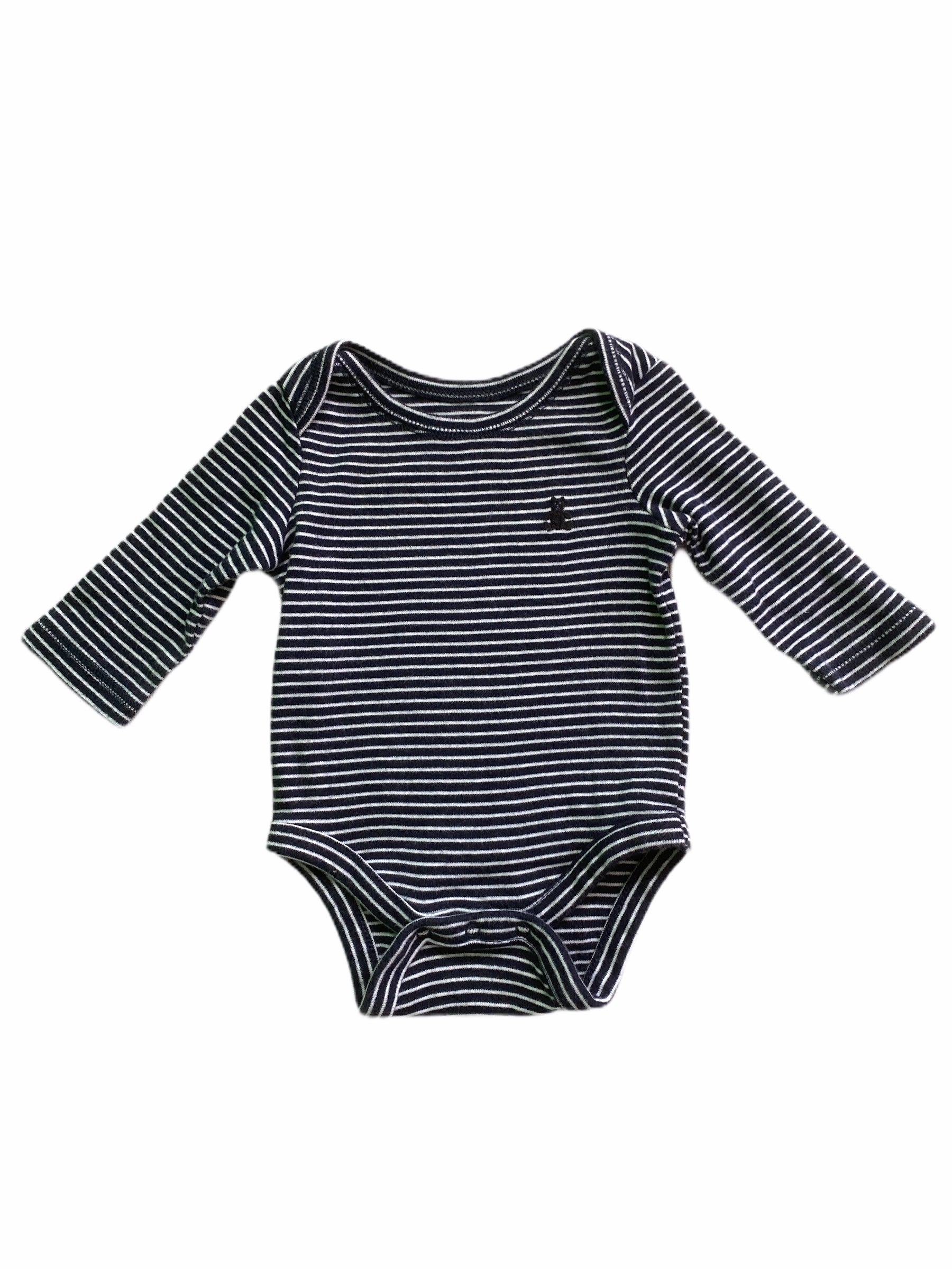 Gap Long Sleeve Navy Stripe Onesie (0/3M Boys)