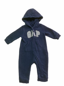 Gap Navy Hooded Romper (3/6M Boys)