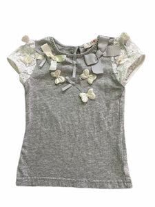 Mae Li Rose Gray with Lace Sleeve Caps Tee (2T Girls)