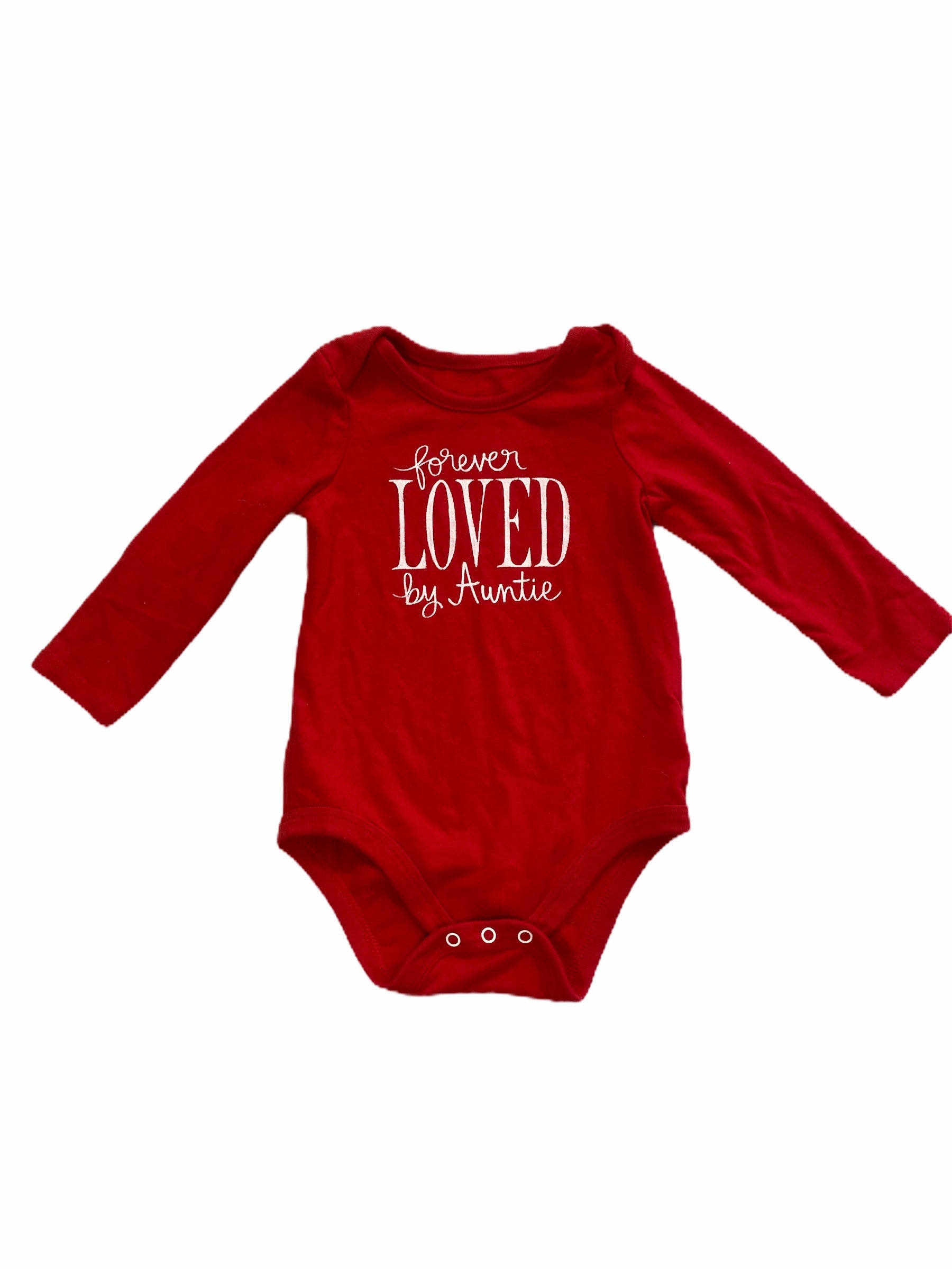 "Cat & Jack Long Sleeve Red ""Forever Loved by Auntie"" Onesie (6/9M Girls)"