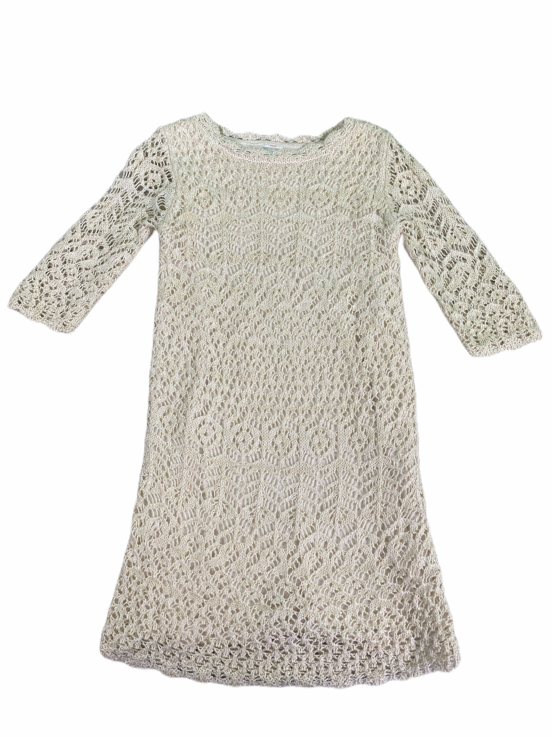 Cat & Jack Cream & Gold Knit Dress (4/5 Girls)