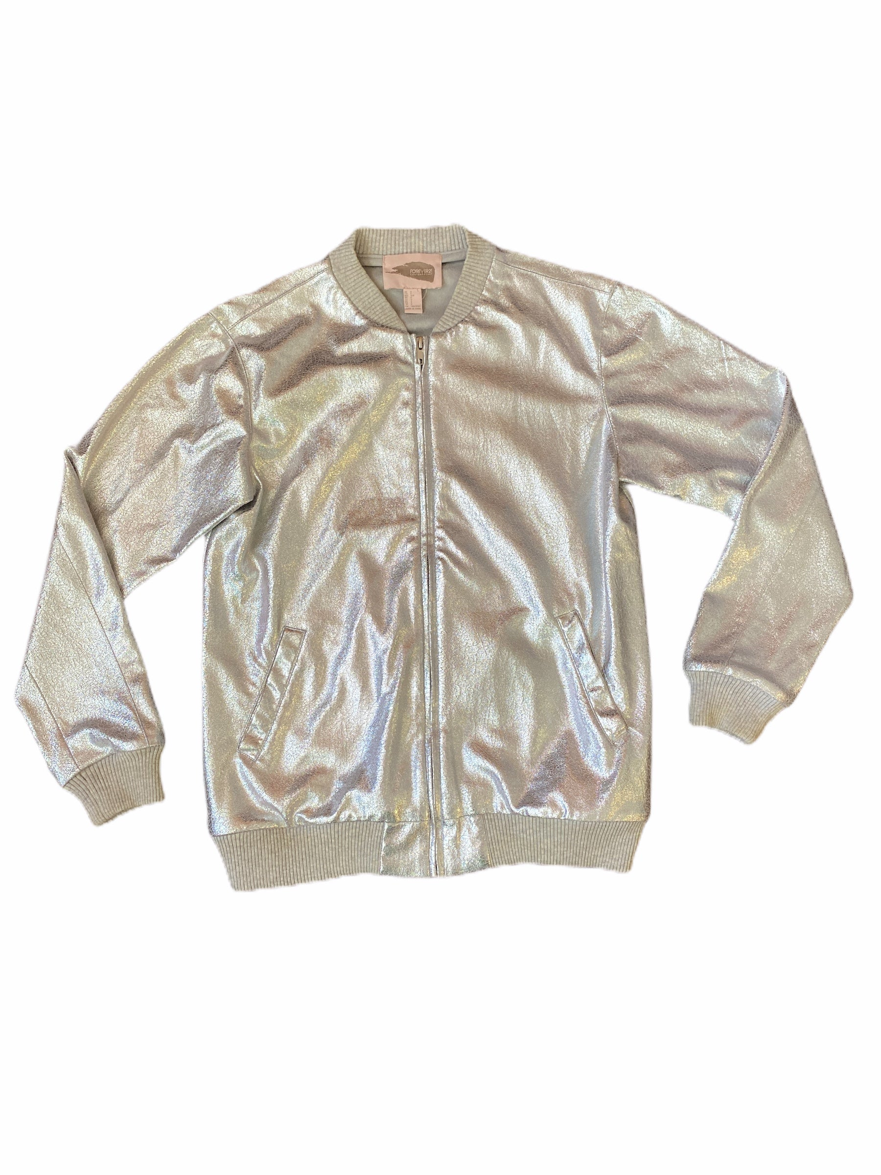 Forever 21 Silver Jacket Small (14/16 Boys)