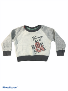 "Naartjie Gray ""King of Hide & Seek"" Sweatshirt (6/12M Boys)"