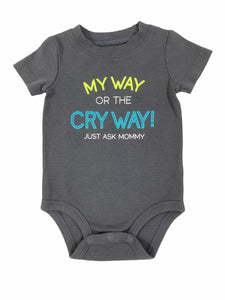 Carter's Gray Cry Way Onesie (12M Boys)