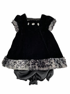 Pippa & Julie Black Velour Dress Set With Leopard Trim (12M Girls)