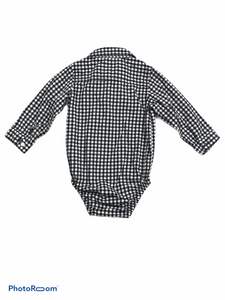 Carter's Navy Gingham Button-Down Onesie (18M Boys)