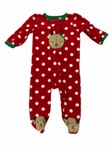Carter's Red Polka Dot Reindeer Sleeper (6M Girls)