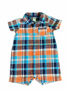 Carter's Orange & Blue Plaid Romper (18M Boys)
