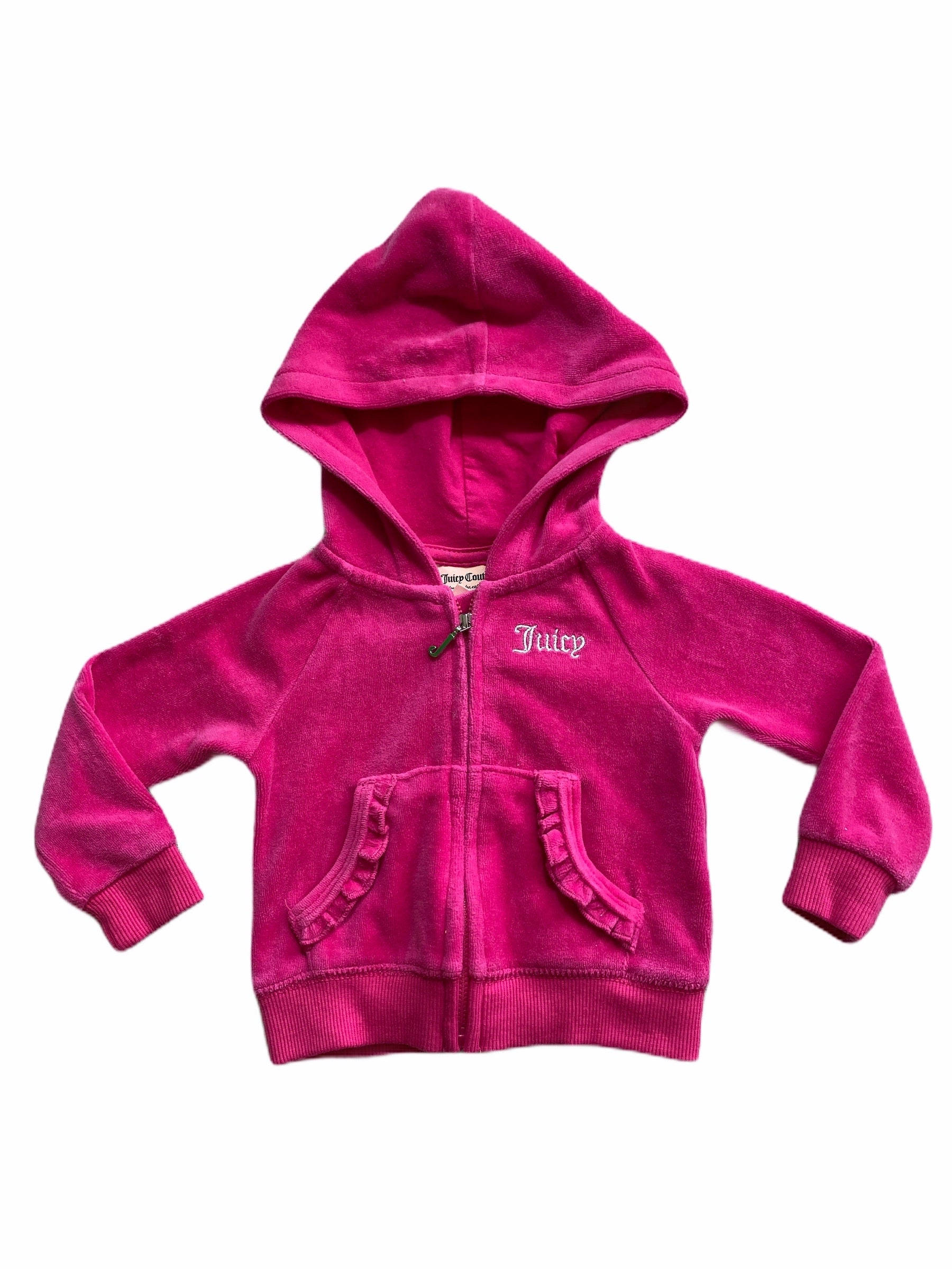 Juicy Couture Pink Velour Hooded Sweatshirt (12M Girls)