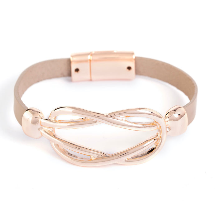 Laurie Leather Rose Gold Bracelet - AmaLily