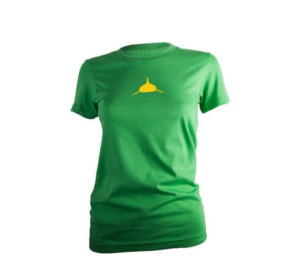 Women's Classic Tee in Vintage Kelly Green and Yellow.