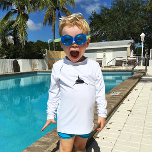 Toddler Long Sleeve Lycra Rashguard in White