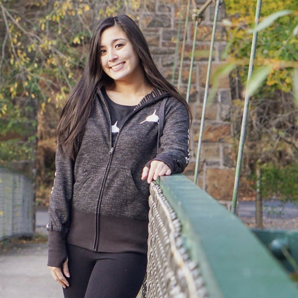 """New Release"" Women's Zip Hoodie Heather Black"