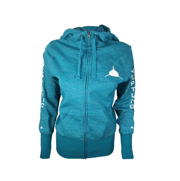 Women's Zip Hoodie in Teal