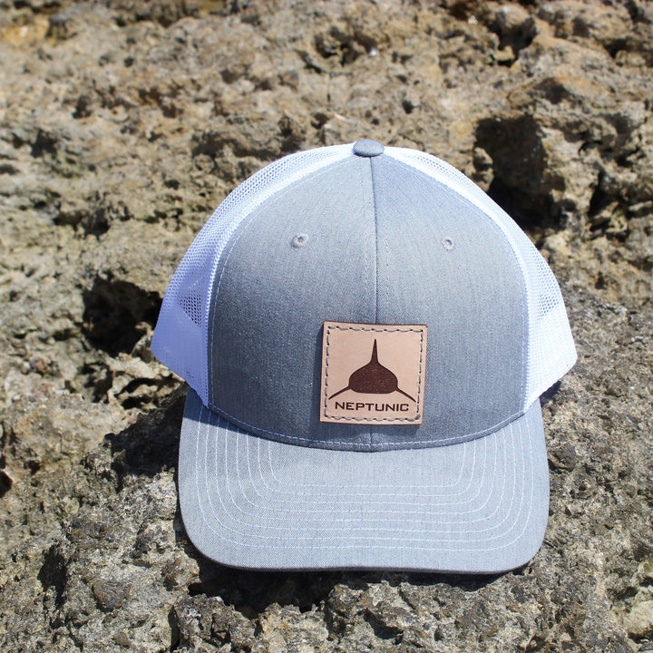 Neptunic Square Leather Patch Hat in Grey & White