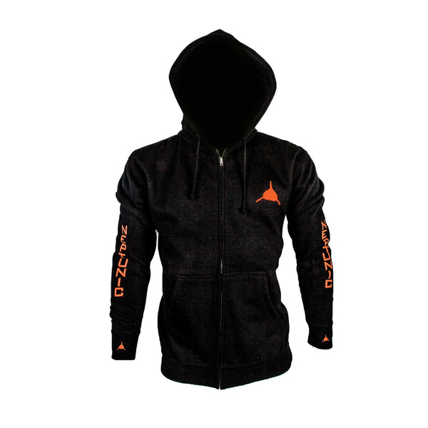 Neptunic Sharksuits Zip Hoodie in Black and Hunter's Orange