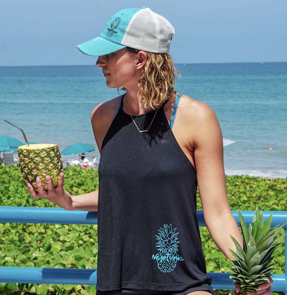 Women's Pineapple Flowy Tank in Black
