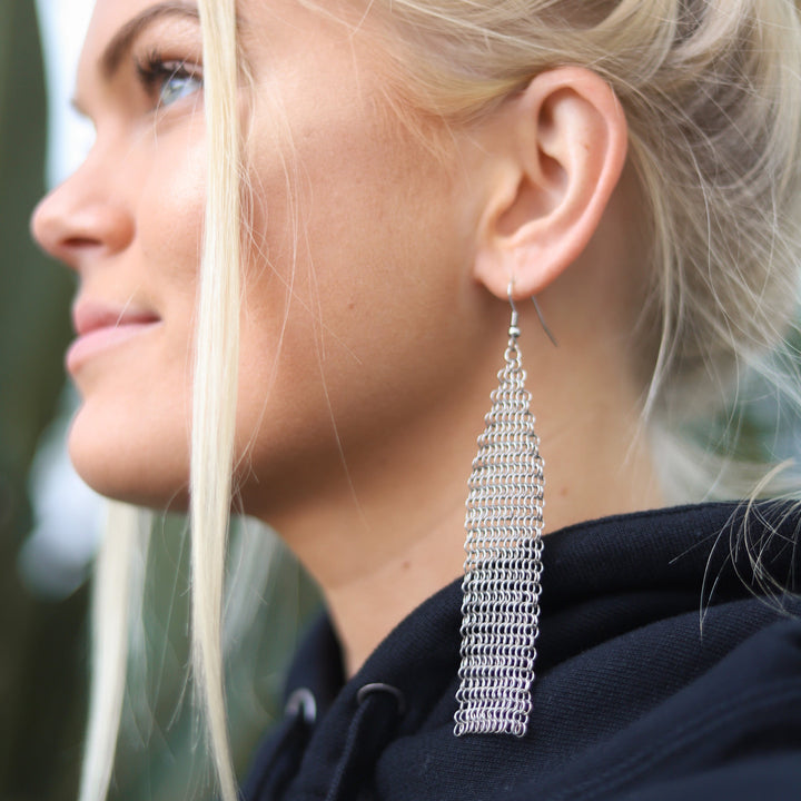 Chainmail Earrings - Extended Triangle