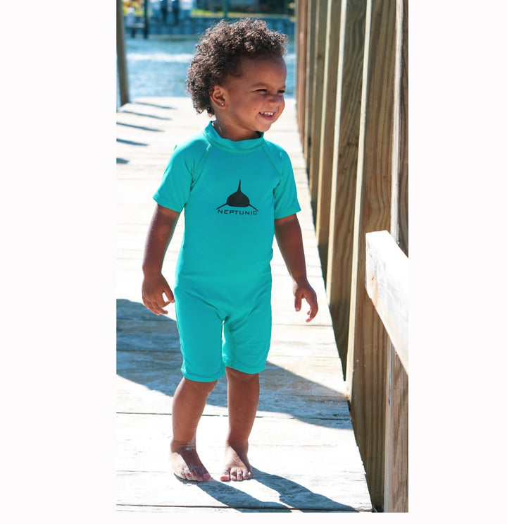 Toddler One Piece Zip Rashguard -Marine Green
