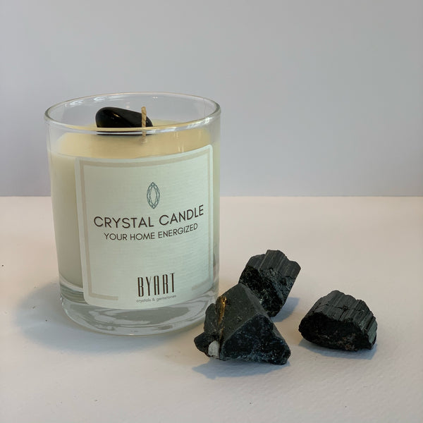 Black Tourmaline Crystal Candle