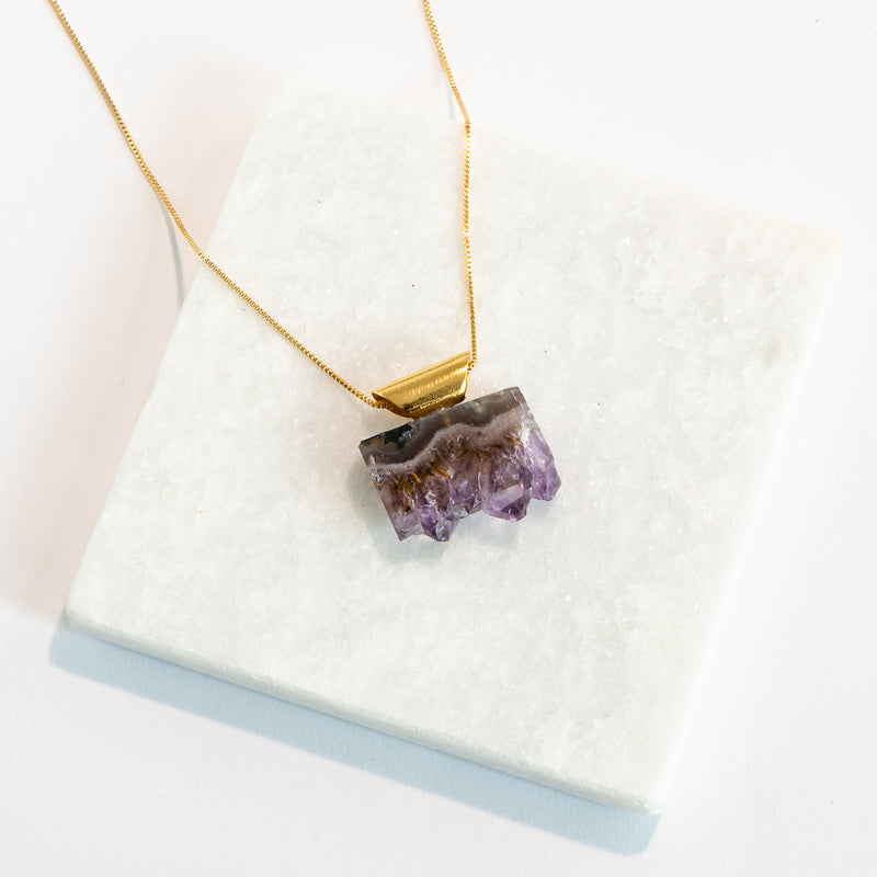 Raw Amethyst Pendant - Gold Plated