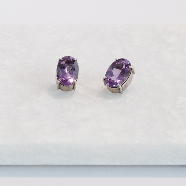 Amethyst Earrings in Silver 925