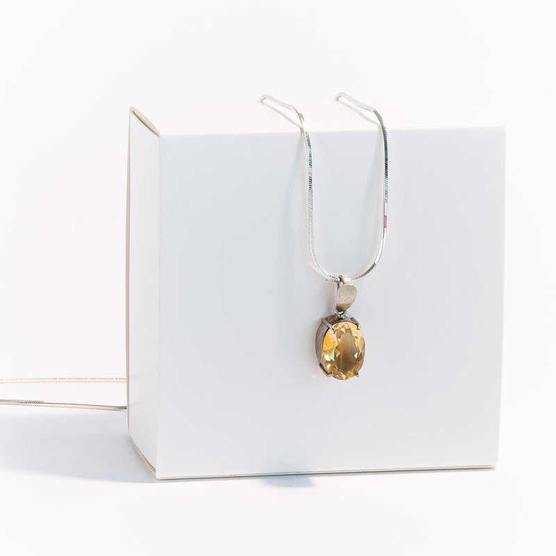 Citrine Pendant in Silver 925