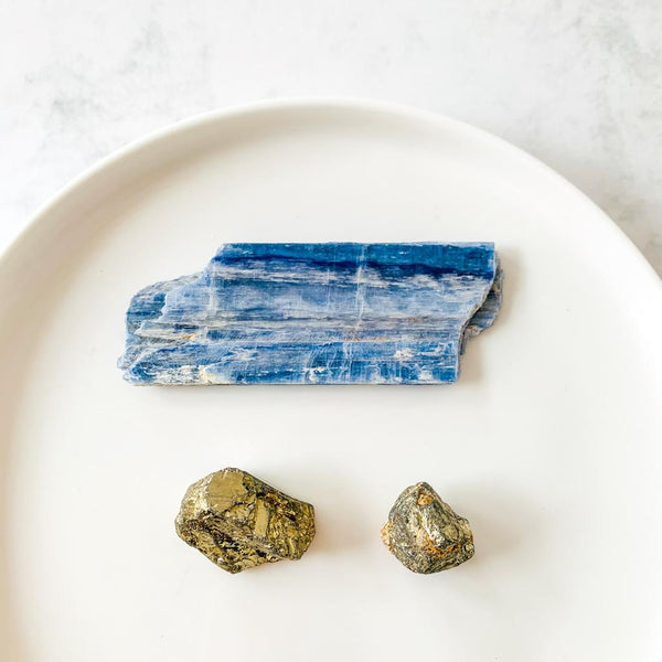 Rough Blue Kyanite e Pyrite