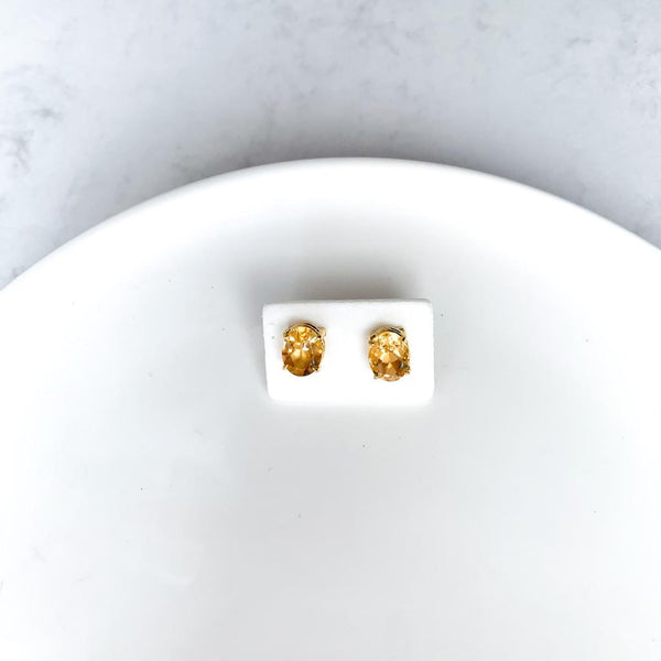 Citrine Round Earrings - Gold plated