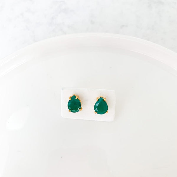 Chrysoprase Gold-Plated Earrings