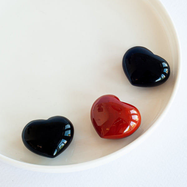 Heart Shape Cut - Onyx and Red Jasper