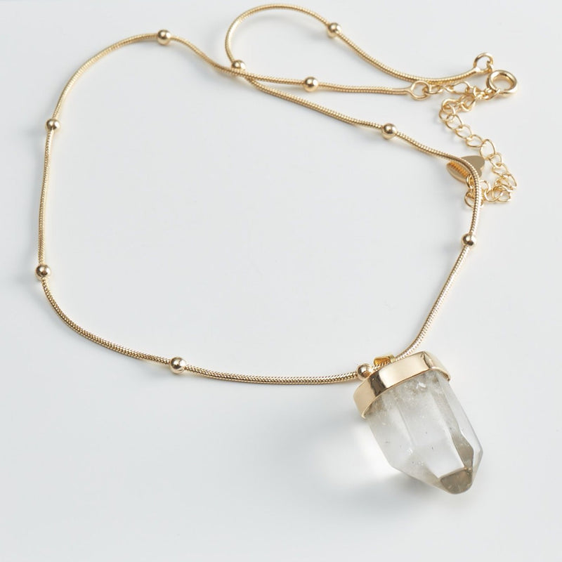 Clear Quartz Point Choker - 18k Gold Plated