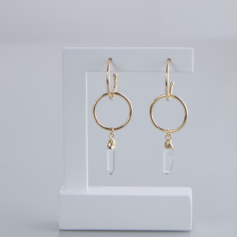 Laser Quartz Hoops Earrings