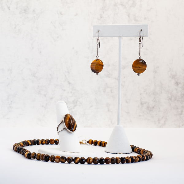 Tiger Eye Set of Earring, Ring and Neckalace - Silver 925