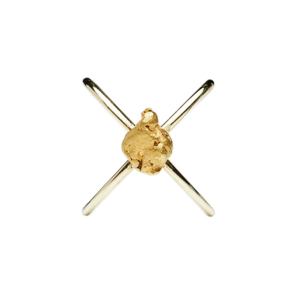 Gold Nugget Ring Cross von Golpira