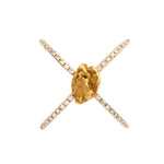Gold Nugget Ring Cross mit Diamanten von Golpira