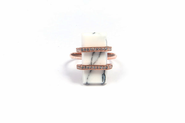 Marble rectangle ring